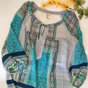 Anthropology Fig and Flowers Size 1X Blouse BOHO